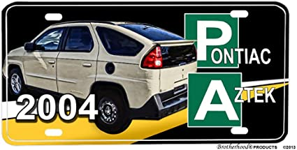 Pontiac Aztek Black Letters Mirror Stainless Steel License Plate