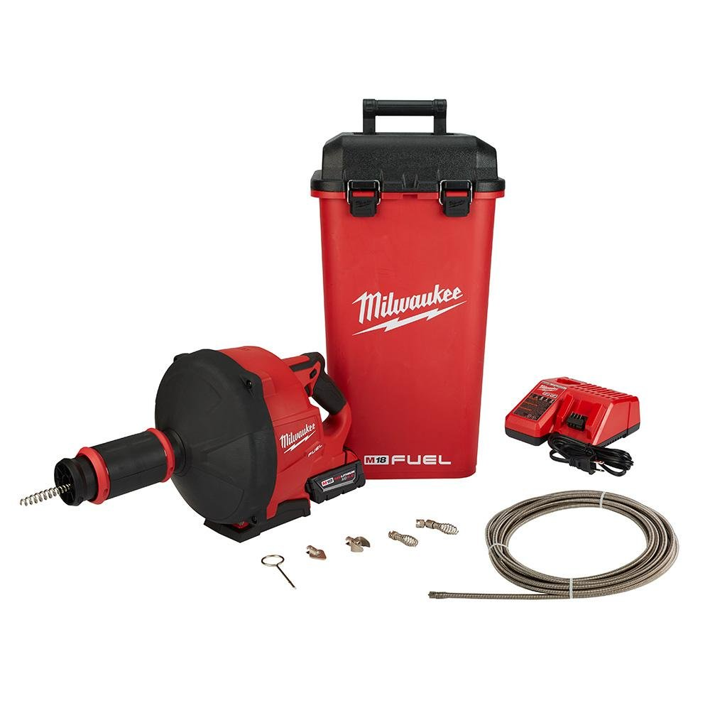 Milwaukee M18 FUEL 18-Volt Lithium-Ion Cordless Drain Cleaning Snake Auger with 1/4 in. and 3/8 in. Cable Drive Kit