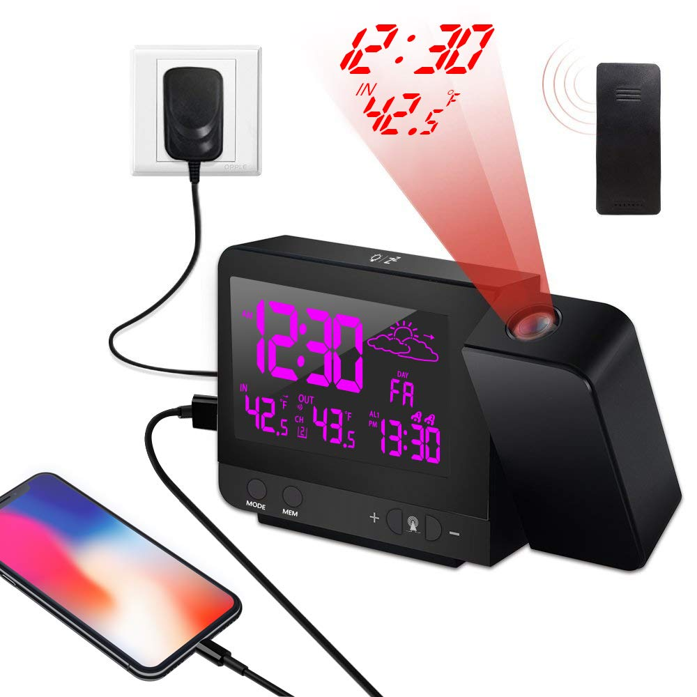 ORHOME Digital Projection Alarm Clock - Auto Time Calibration High Definition with Weather Forcast Station, Indoor/Outdoor Thermomete, USB Charging Port, Dual Alarm, Colorful Backlight