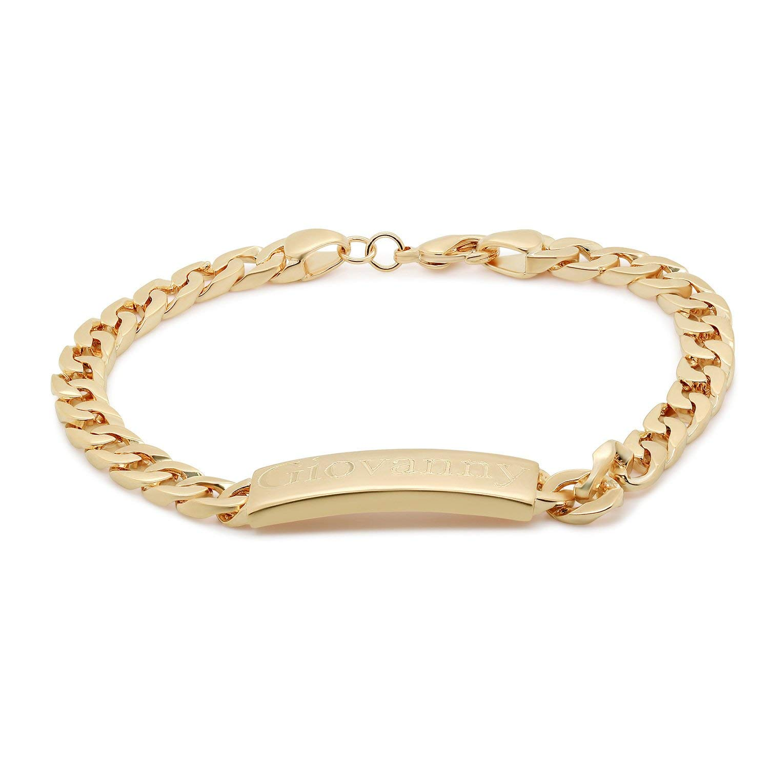 Fresh Personalized Unisex Gourmet Bracelet 18K Gold Plated Engraved Name Plate Gift 20