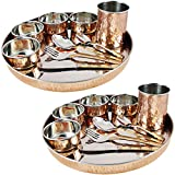 Copper Dinnerware Thali Set for Serving 2 Person Indian Tableware