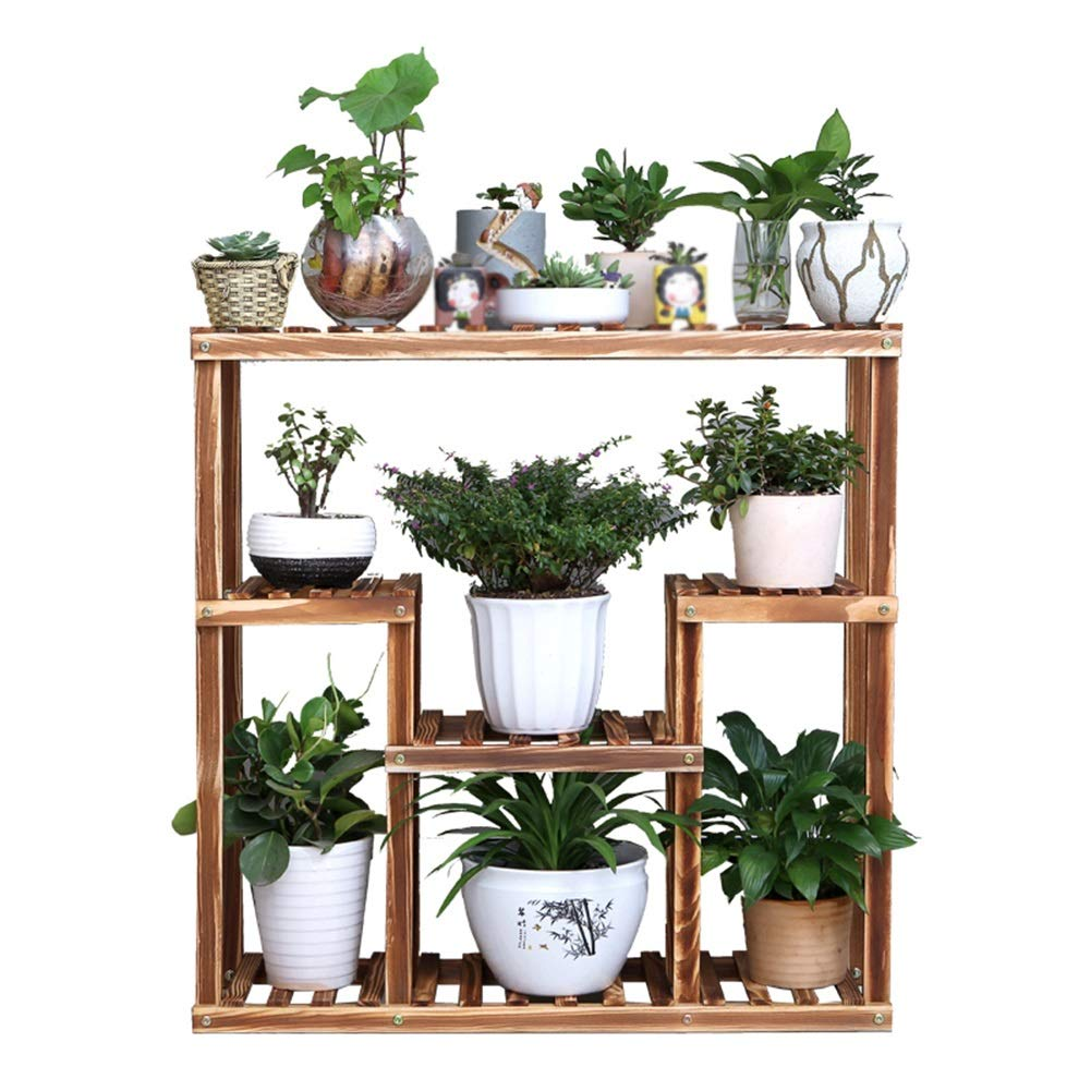 Mensola dei fiori Flower Stand for Living Room Ripiano in Legno Scaffale Rack Flower Pot Rack