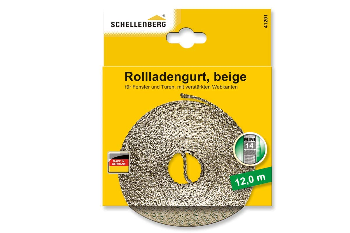 Larghezza 14 mm 6 m Sistema Mini Lunghezza 6m 14mm Schellenberg 46103 Cinghia per Avvolgibile Bianco