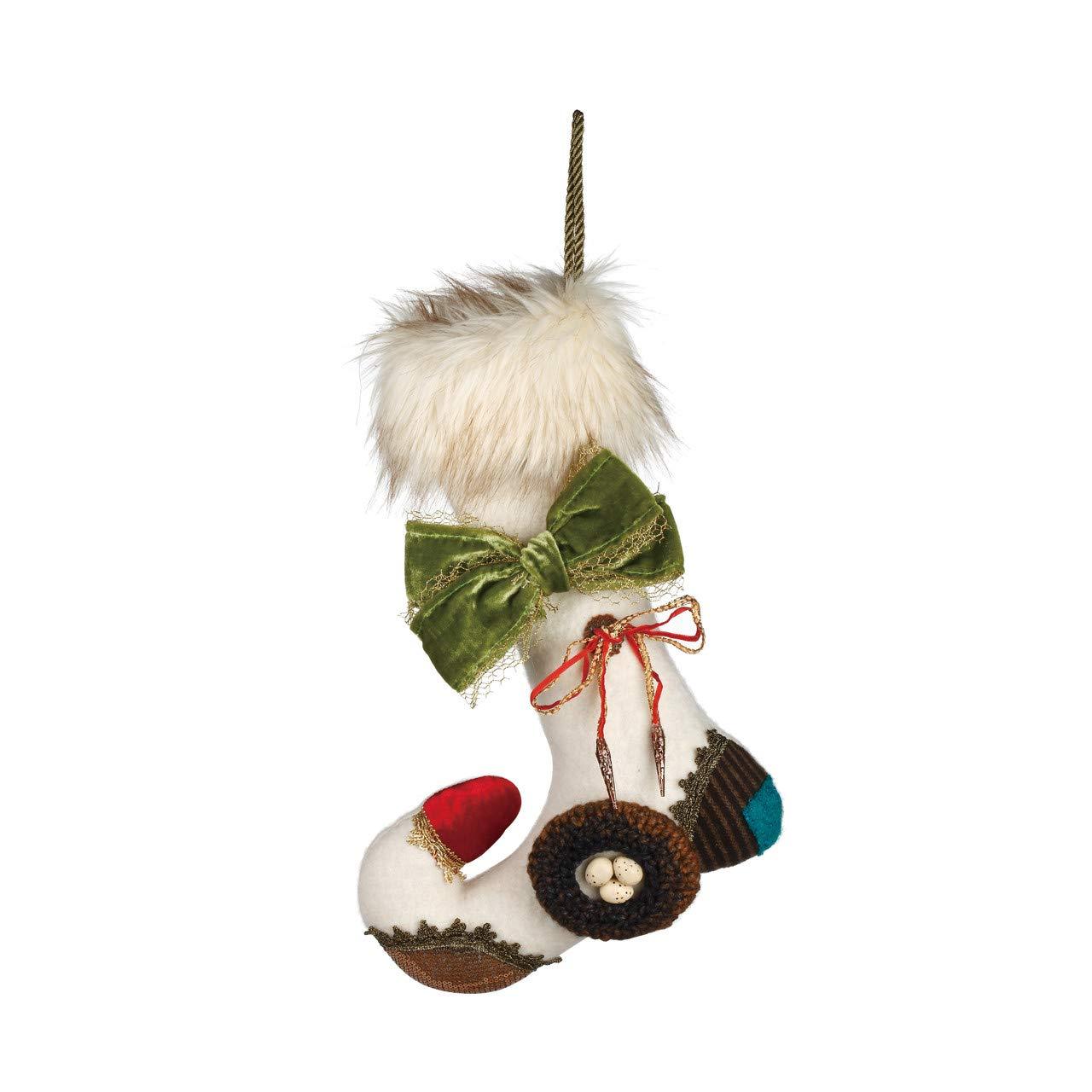 DEMDACO 14 inch Petite Amelia Faux Fur Cuff Christmas Stocking Decoration 2020180571