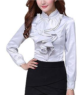 ec861f766a97e2 Double Plus Open DPO Women s Chiffon Button Down Ruffle Lace Founcing Front Shirt  Long Sleeve Blouse