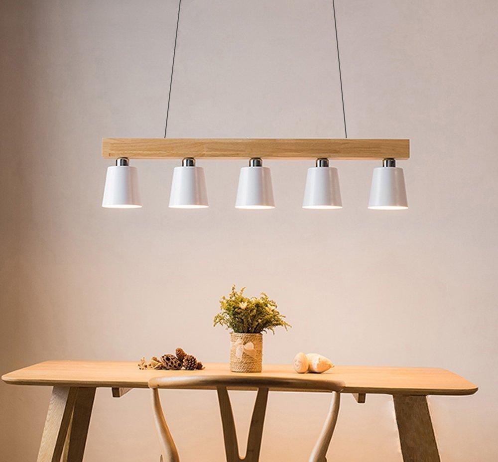 ZMH Lámpara Colgante Comedor Iluminación Interior Araña de Techo de Metal y Madera Altura Ajustable con