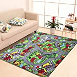 Kids Play Mat Children Play Carpet,Ultra Cozy Learning Area Rugs Non-Slip Nylon Game Mats,Anti-slip Latex Backed Home Play Rug for Boys and Girls,Country Lane Kid Playmat,39.4''x 59.1''