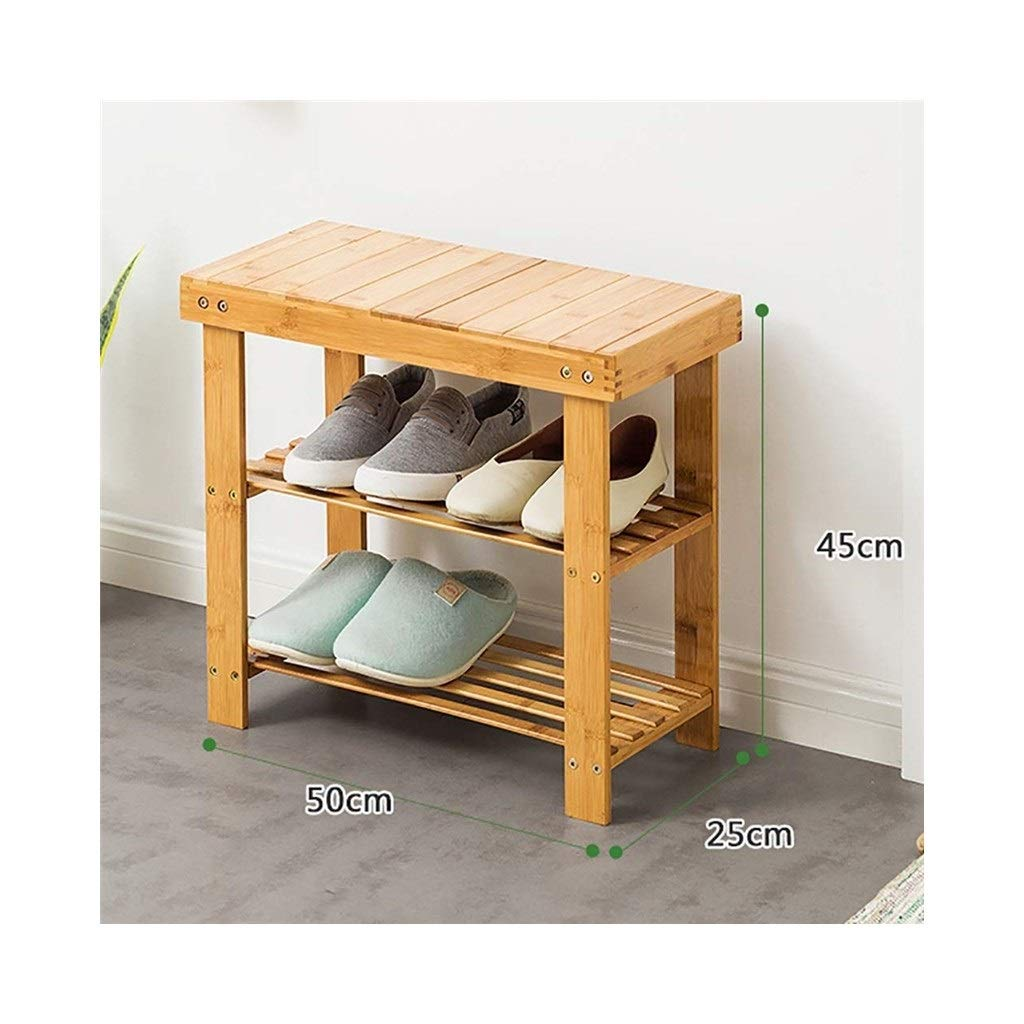 502545cm Double shoes Bench Bamboo shoes Rack Corridor Bench Home Rack (Size   90  25  45cm)