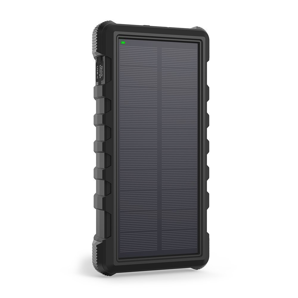 Solar Power Bank, RAVPower 25000mAh Outdoor Solar Phone Charger with 3 USB Ports, External Battery Pack with Micro USB & USB C Inputs, Portable Charger with Flashlight - Shock, Dust & Waterproof