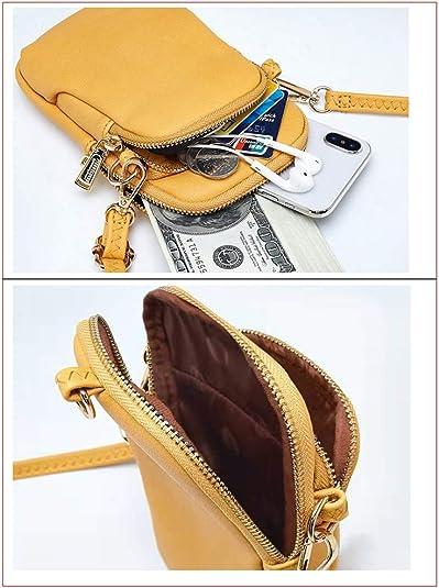 WANYIG Bolso Crossbody para Mujeres en Cuero PU Mini Bolso de Teléfono Móvil Bandolera Mujer Niña Pequeño Bolsa de Mujer Bolso para Movil