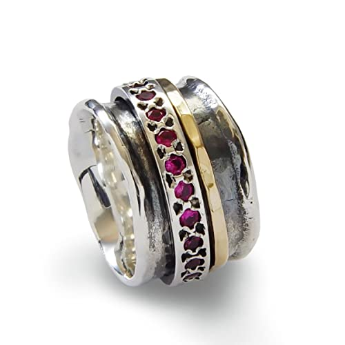 Amazon.com: Ruby Silver and Gold spinner ring, Gold Filled rustic ...
