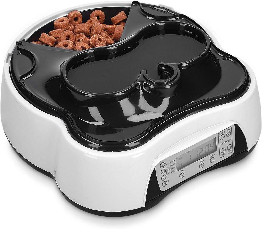 Navaris Dispensador automático de Comida para Perros y Gatos - Comedero para Mascotas con 4 Compartimentos y Agua - con Temporizador