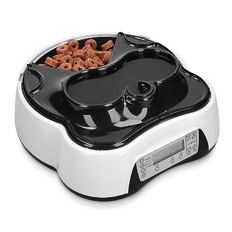 Navaris Dispensador automático de Comida para Perros y Gatos - Comedero para Mascotas con 4 Compartimentos