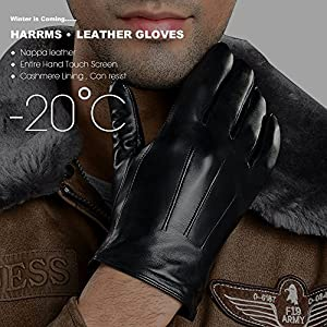 "Harrms Best Touchscreen Nappa Genuine Leather Gloves for men's Texting Driving for Winter (M-8.5""(US Standard Size), BLACK)"