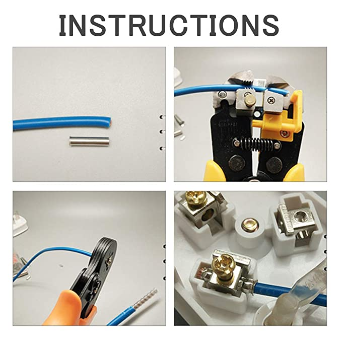 para terminales GOCHANGE herramienta de engarzado para secciones de 0.25-6.0mm/² pernos y terminales de cable aislados y no aislados