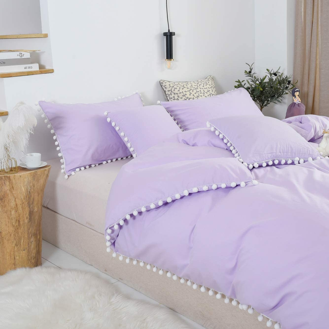 Softta Boho Bedding Tassel Duvet Cover Fringed Twin 3 Pcs 100/% Washed Cotton Vintage and Elegant Ruffle Duvet Covers White