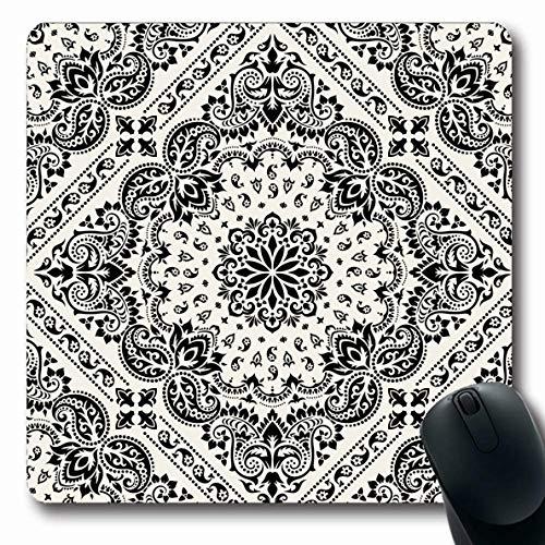 (Ahawoso Mousepad Oblong 7.9x9.8 Inches Headscarf Pattern Paisley Bandana Vintage Scarf Black Bandanna Border Western Floral Design Office Computer Laptop Notebook Mouse Pad,Non-Slip Rubber)