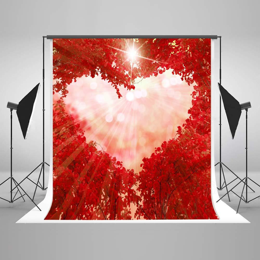 写真背景 Love 5x7 シームレス エレガント レッド メープル フォレスト スイート ハート ボケ 写真 背景 乳児 カスタマイズフォト小道具   B07GBZ1XPL