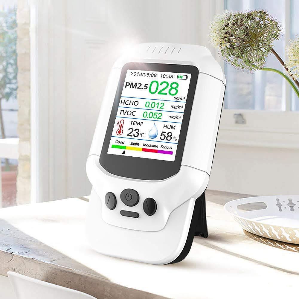 SODIAL Probador De Contaminación De La Calidad Del Aire, Medidor Temperatura Y Humedad, Sensor,Detectar Pm2.5/Pm10/Pm1.0 M Icron Polvo,Prueba Gas Compuesto ...