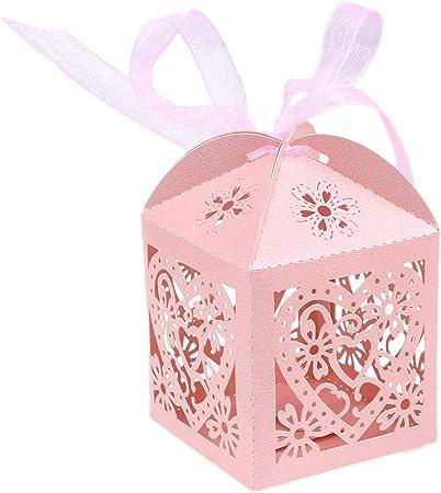 STOBOK Cajas de Caramelos de Papel Hueca con Patron de Corazon para Bombones Dulce Chocolate Cajas de Regalo para Fiesta Boda Decoraciones del Regalo de Cumpleaños Bautizo 50 Piezas (Rosa): Amazon.es: Hogar