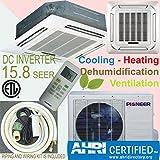 Pioneer Ceiling Cassette Split Ductless Inverter+ Heat Pump System Set, 24000 BTU
