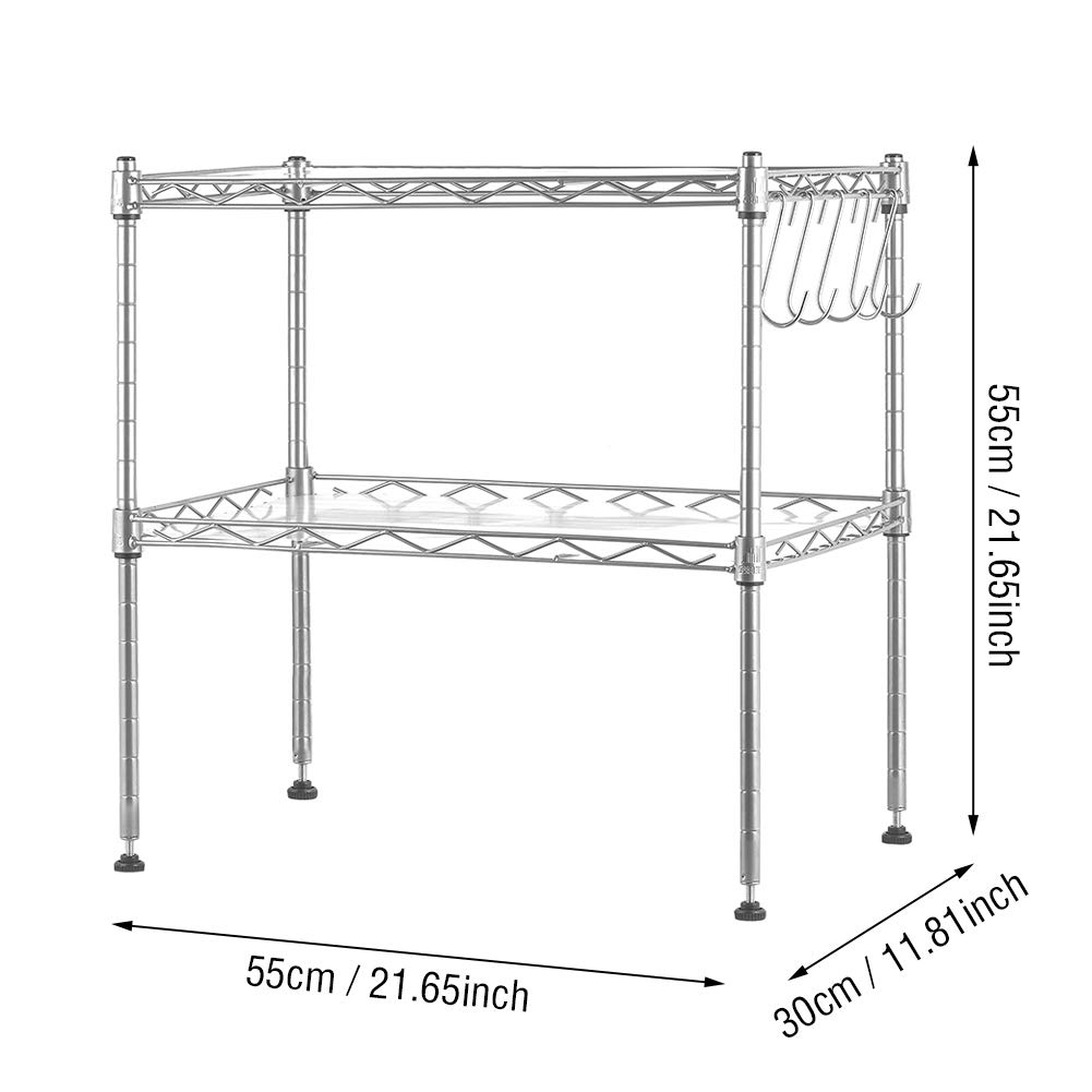 Hivexagon Microwave Oven Rack Shelf 2-Tier Adjustable Storage Shelving Unit with 5 Hooks for Kitchen Counter Organizer HG419