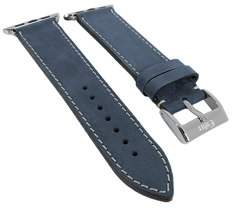 Minott | Uhrenarmband passend zu Apple Watch 42mm - Leder ? 29972 - Farbe:blau