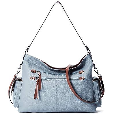 420a2597e5 Amazon.com  Purses and Handbags for Women Designer Genuine Leather Hobo  Tote Large Ladies Shoulder Bag Blue  Shoes