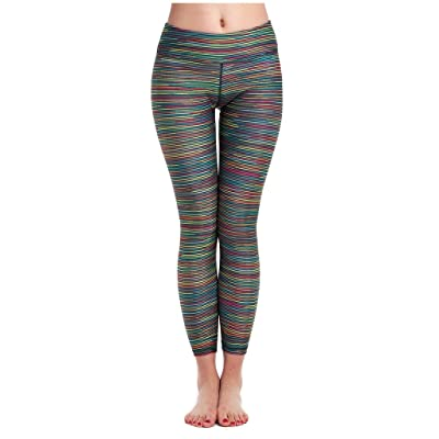 Lotsyle Women's Colorful Stripes Digital Print Fitness Yoga Pants Leggings