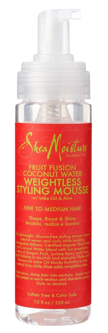 Shea Moisture Fruit Fusion Coconut Water Weightless Styling Mousse, 8 Ounce by Shea Moisture (Image #1)