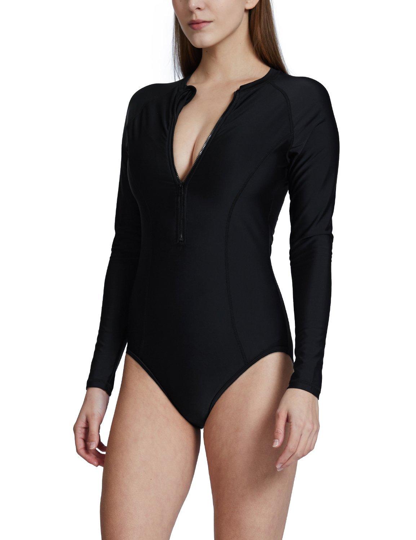 Baleaf Women's Long Sleeve One Piece Sun Protection Rash Guard Rashguard UPF 50+ Swimsuit Black Size S by Baleaf (Image #2)