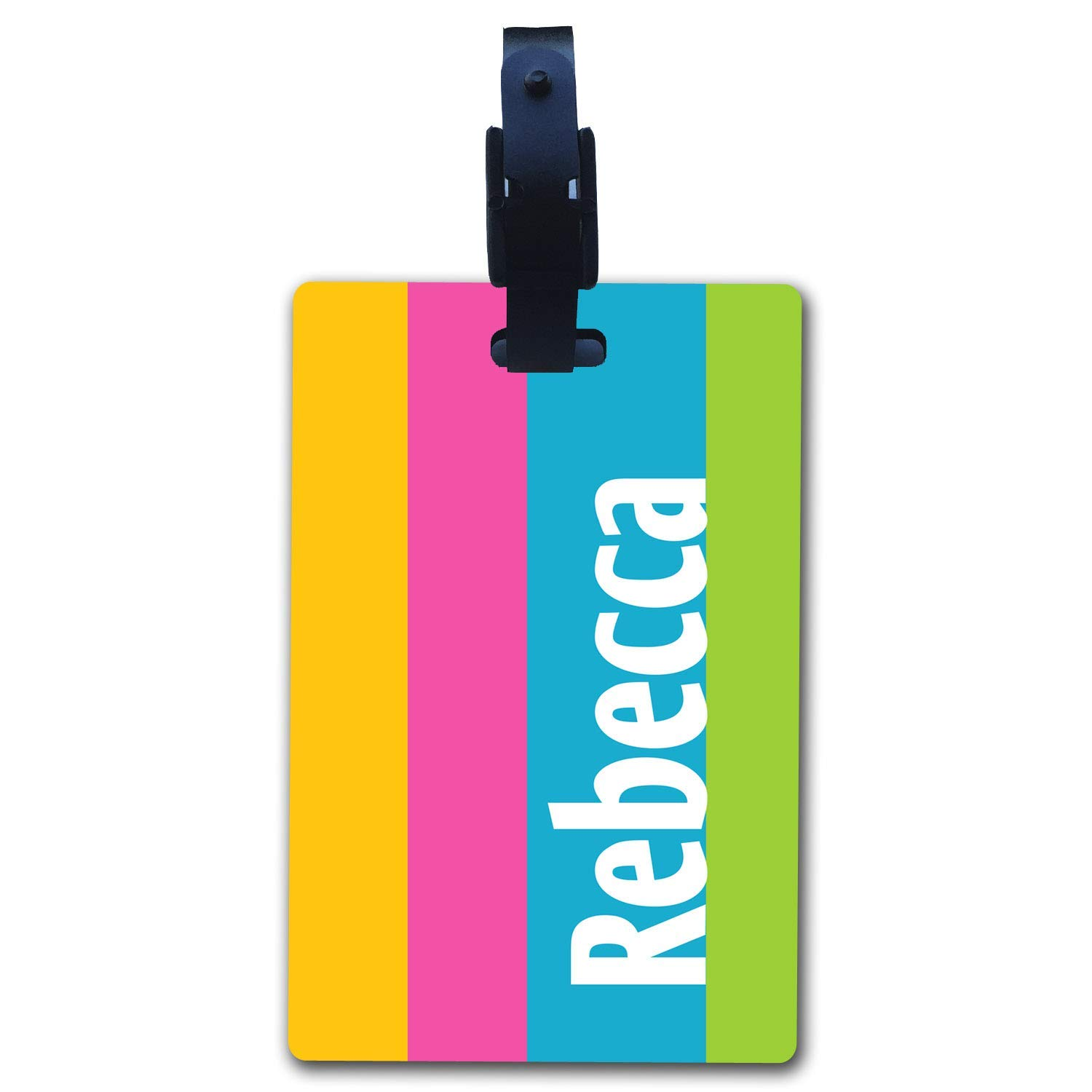 BRGiftShop Personalized Custom Name Yellow Pink Blue Green Playful Bright Stripes Luggage Tag