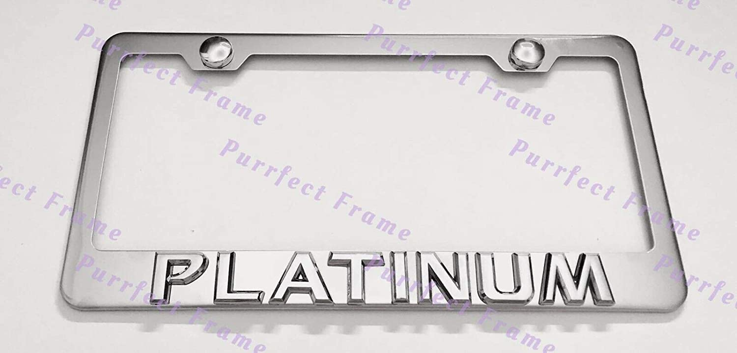 2X 3D PLATINUM Cadillac Emblem Stainless Steel License Plate Frame Rust Free