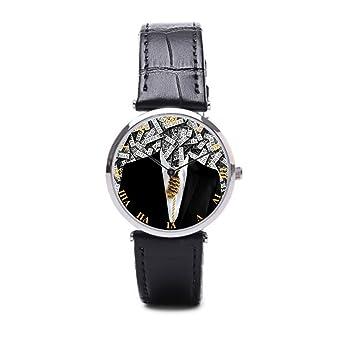 puppya reloj banda de cuero formal traje negro/plata: Amazon.es ...