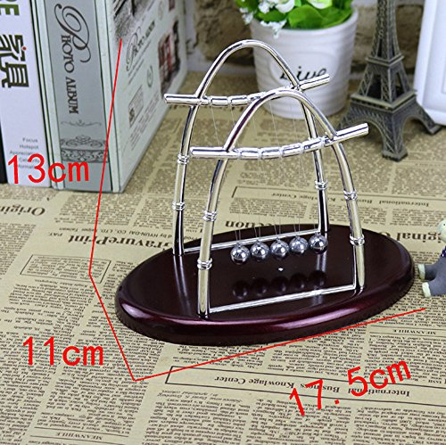GUTTEAR Newton Swing Ball Arched Trumpet Wine red Arc-Shaped Newton's Cradle Balance Ball Science Puzzle Fun Desk Toy ()