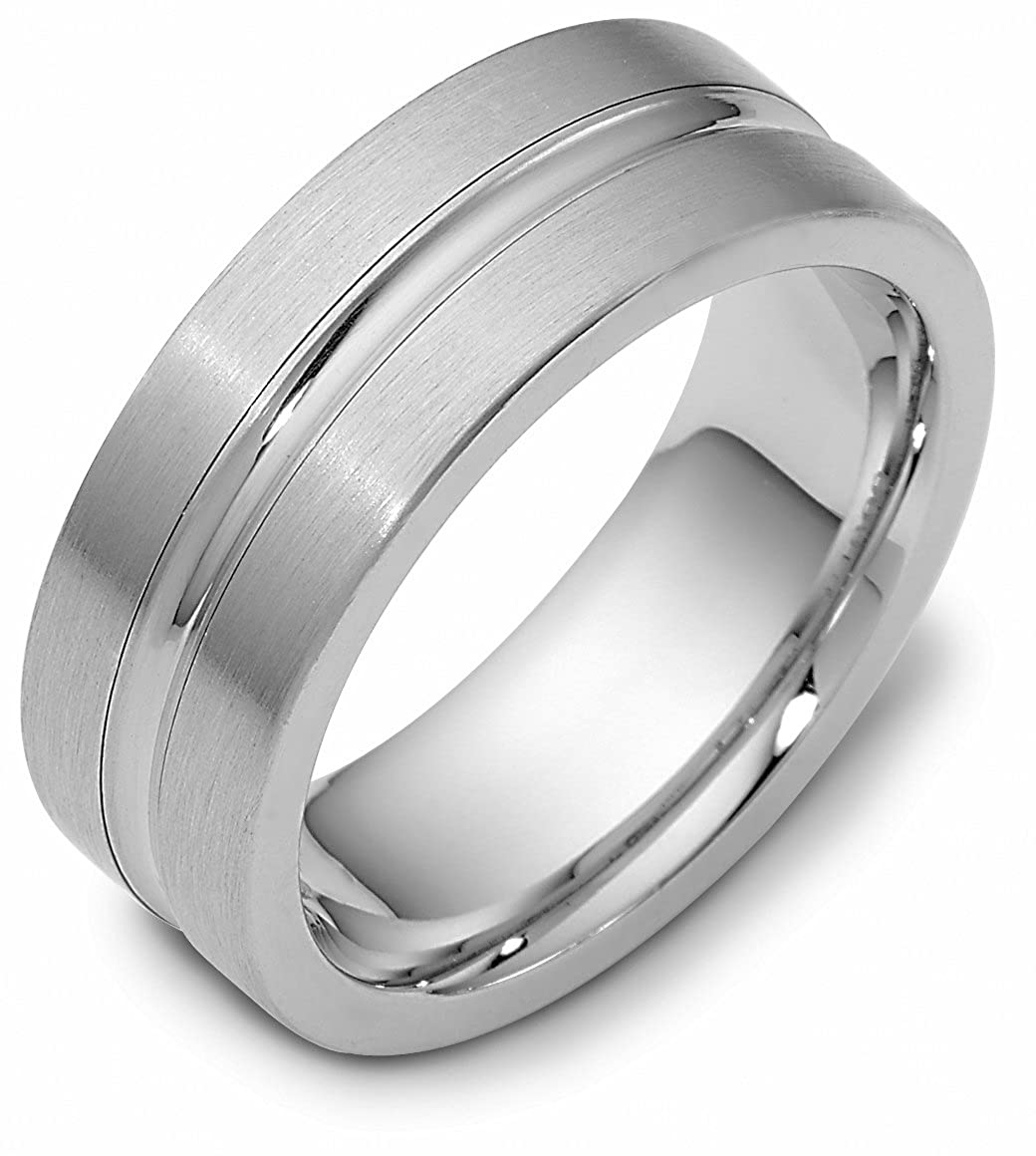 Mens Sterling Silver 8mm Convex Center Comfort Fit Wedding Band Ring