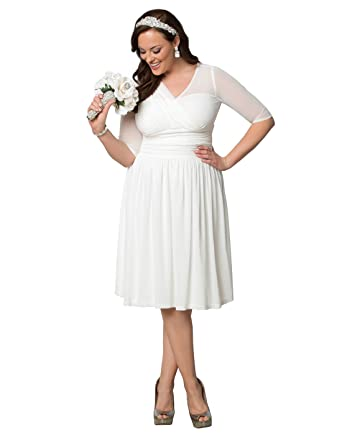 Kiyonna Womens Plus Size Forever Yours Wedding Dress 1x Soft White