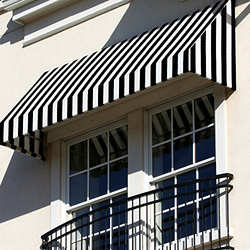 Awntech 5-Feet New Yorker Window/Entry Awning, 18-Inch Height by 36-Inch Diameter, Black/White