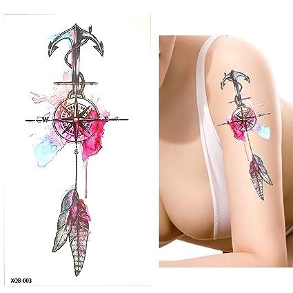 Agua Colores Acuarela Tattoo Fake Tatuajes xqb003 Brújula Ancla Muelle