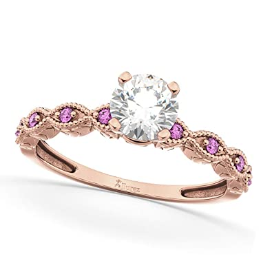 1e4b05c627490a Ladies Vintage Diamond and Pink Sapphire Engagement Ring w/Marquise Style  Shank 18k Rose Gold