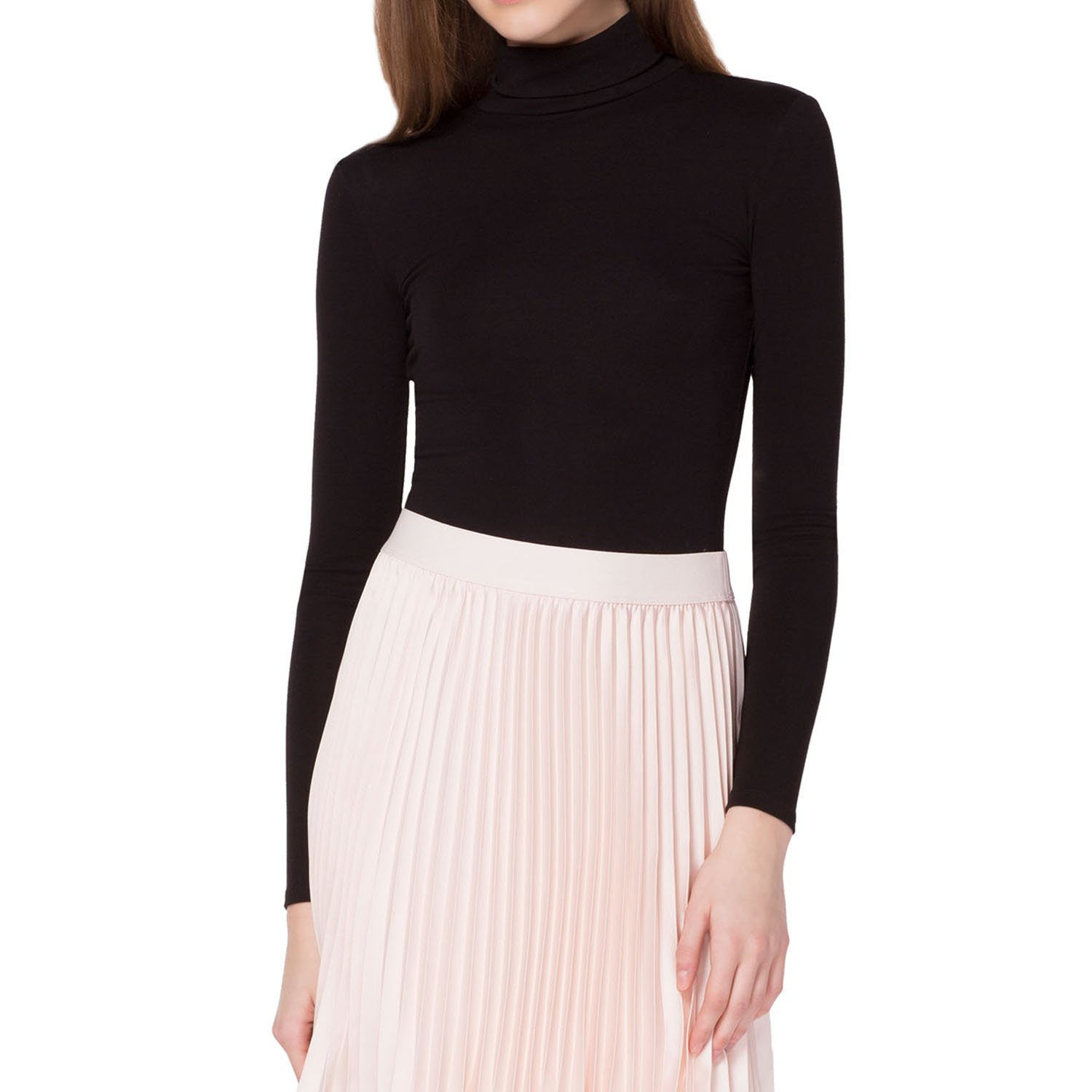 Kat & Emma Essential Super Soft Long Sleeve Fitted Turtle Neck Top (Black, Small)