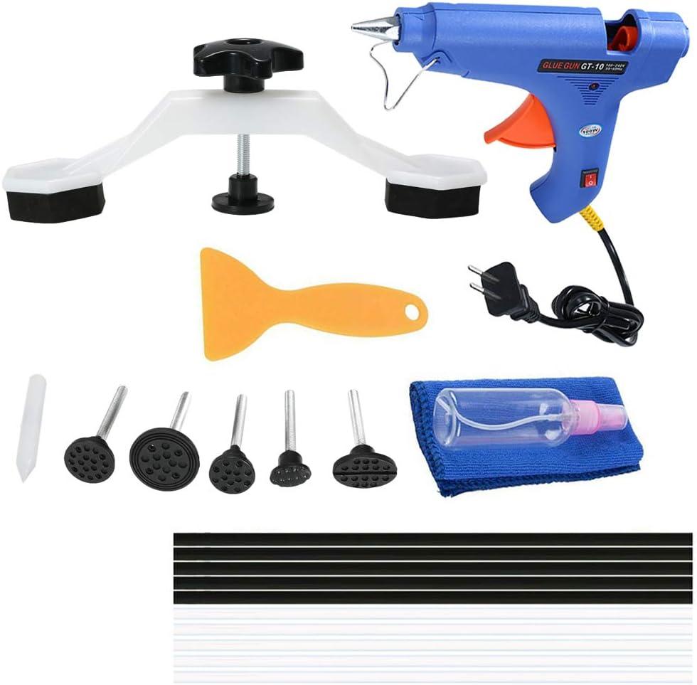 VISLONE Paintless Dent Repair Tools Kit Puente Dent Puller Removal Tool con Pistola de Pegamento Barras de Pegamento para Auto Body Moto Frigorífico Lavadora Enchufe de la UE