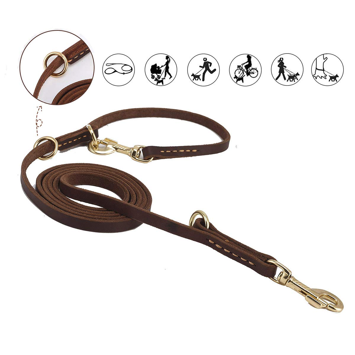 Durable Multi Function 8ft Dog Leash, Genuine Leather Training Leash for Small, Medium and Large Dogs