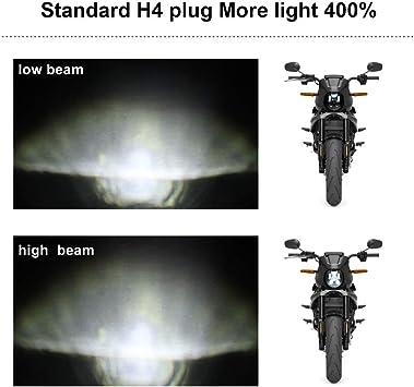 AKDSteel Fari a LED da 5,75 pollici//200W per fari Lampada ad Occhi dAngelo Lampada a 6 LED Hi//Lo per fari per motocicli con Cavo Patch da H4 a H13 Garanzia di rimborso per fari per Moto C0015