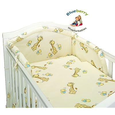 """BlueberryShop Ensemble de literie 3 mcx pour lit bébé housse de couette +coussin +tour de lit 90 x 120 cm (35.5"""" x 47"""") ( 0 -3Yrs ) ( 120 x 90 cm ) Crème Girafe"""