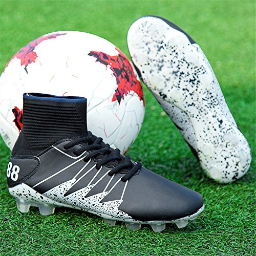 Scurtain Youth & Mens Performance High Top Soccer Shoe Cleats Football Boots Athletic Outdoor Training Grassland Black gaQxB6Q