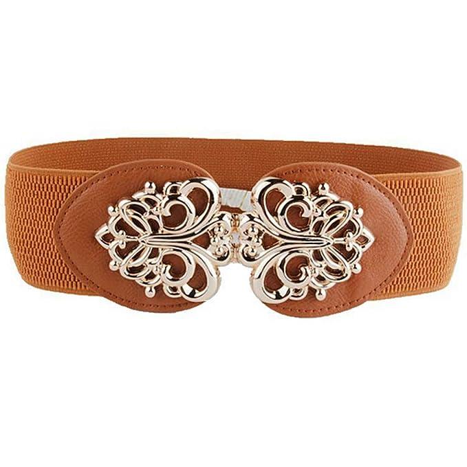Cinturón cuero la PU para mujer Cinturón cintura ancha mujer Cinturones  mujer Lady Hasp Cinturones elásticos brown 60cm  Amazon.es  Ropa y  accesorios b6820129808c