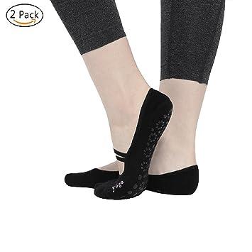 CBValley 2 Par Calcetines de yoga Pilates Calcetines Fitness / Danza / Ballet Calcetín para Mujer