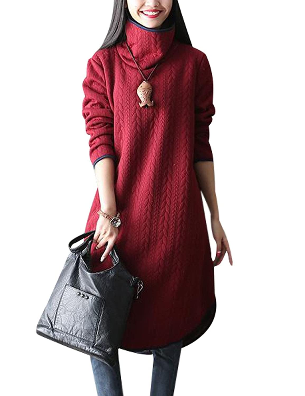 Youlee Women's Winter High Neck Long Sleeve Dress