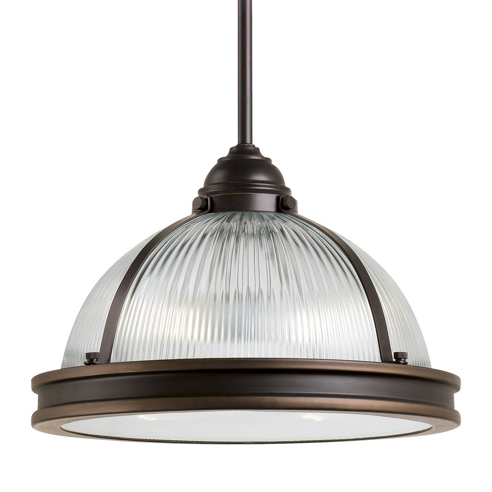 Sea Gull Lighting 65061-715 Pratt Street Prismatic Two-Light Pendant with Clear Textured Glass Diffuser and Clear Ribbed Glass Shade, Autumn Bronze Finish